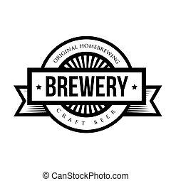 vendemmia, vettore, fabbrica birra, logotipo