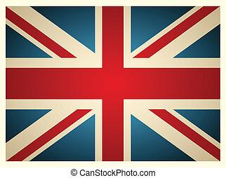 vendemmia, vettore, illustration., britannico, flag.