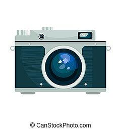 vendemmia, vettore, illustrazione, macchina fotografica.