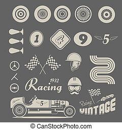 vendemmia, vettore, macchina da corsa, icone