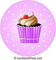 vendemmia, vettore, poster., illustrazione, cupcake