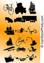 vendemmia, vettore, trasporto, set;