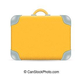 vendemmia, viaggiare, isolato, vettore, valigia, bianco