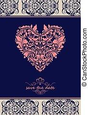 vendemmia, viola, invito, con, ornare, floreale, forma cuore