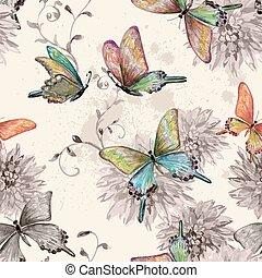 vendemmia, volare, seamless, struttura, acquarello, butterflies.