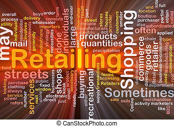 vendendo varejo, palavra, nuvem, caixa, pacote