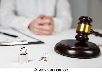 vender, casa madeira, aviso de concurso, gavel, lar, ou, comprando