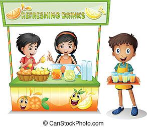 vender, crianças, tenda, refrescar, bebidas