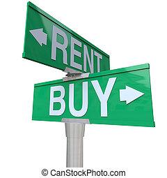 vender, mão dupla, vs, sinal, rua, comprando