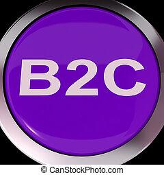 vender, negócio, meios, consumidor, botão, b2c, ou,...