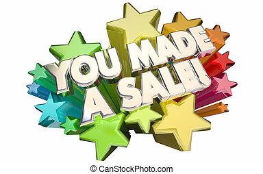 vender, sucesso, negócio, venda, feito, estrelas, tu, 3d, palavras, fechado