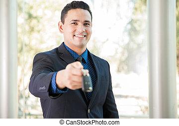 vender, um, car, em, a, dealership