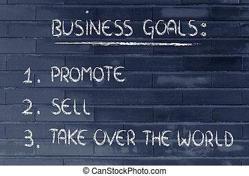 vendere, affari, goals:, sopra, elenco, promuovere,...