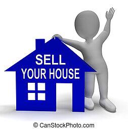 vendere, casa, mettere, casa, proprietà, tuo, mercato, mostra