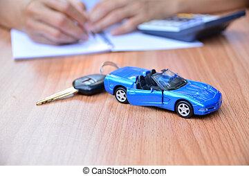 vendere, comprare, automobile, affari, finanziamento, concetto, chiave automobile, assicurazione, o