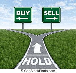 vendere, comprare, presa, o