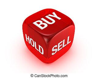 vendere, comprare, segno, traslucido, presa, rosso, dado