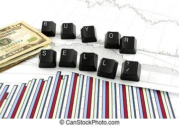 vendere, comprare, tabelle, affari, o