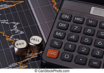vendere, cubi, finanziario, parole, comprare, calcolatore, grafico, dices, fondo