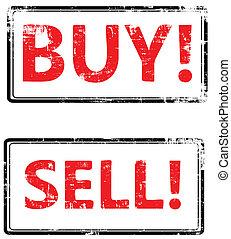 vendere, francobollo, comprare, fine, vettore