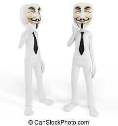 vendetta, masque, figure, anonyme,  3D, homme