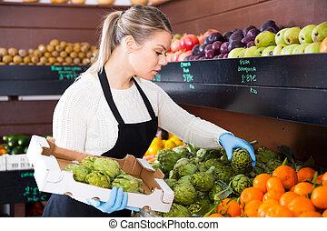 vendeur, épicerie, boîte, frais, femme, fruits, s'étend, ...