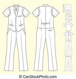 vendeur, caissier, ou, homme, vêtements