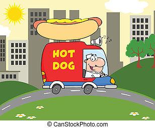 vendeur, chaud, camion, chien, conduite