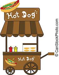 vendeur, chien, chaud, vecteur, stand, cabine
