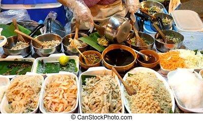 vendeur, nord, nourriture, rue, thaïlande, thaï