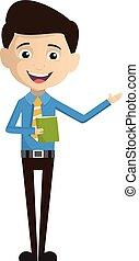 vendeur, présentation, employé, livre, -, tenue