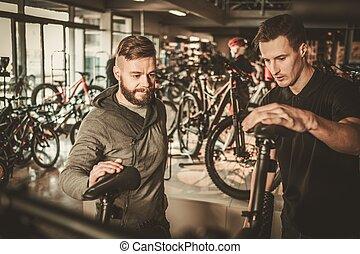 vendeur, projection, a, nouveau, vélo, à, intéressé, client,...