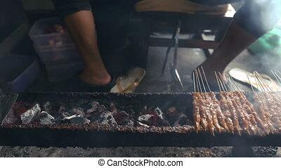 vendeur, rue, brochette, satay, nourriture, grillade, viande...