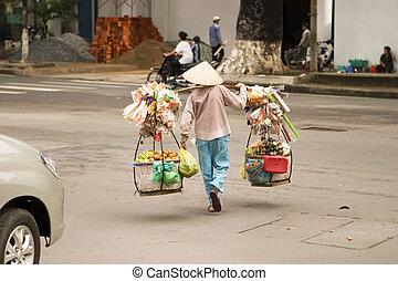 vendeur rue, vietnamien