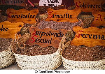 vendeur, wellness, rue, médecine, herbes, herbier, médicinal, épice