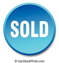 vendido, azul, redondo, apartamento, isolado, empurre botão