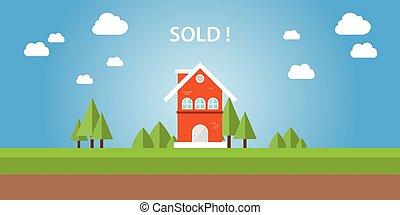 vendido, casa, com, texto, cima