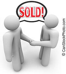 vendido, comprador, vendedor, vendedor, cliente, aperto mão