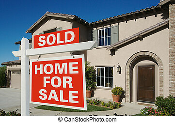 vendido, -, hogar, para el signo de liquidación