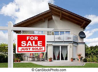 vendido, lar, sinal venda, frente, casa