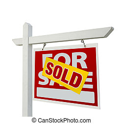 vendido, lar, venda, sinal bens imóveis