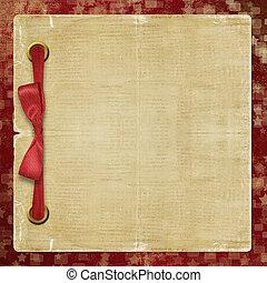 vendimia, álbum, con, cintas, y, arco rojo