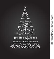 vendimia, árbol de navidad, con, texto, y, elementos