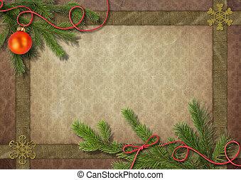 vendimia, árbol de navidad, y, copo de nieve