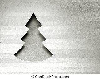 vendimia, árbol, papel, corte, diseño, monocromo, tarjeta de...