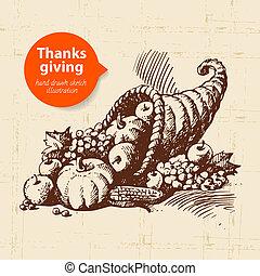 vendimia, acción de gracias, ilustración, mano, dibujado, ...