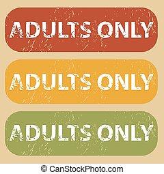 vendimia, adultos solamente, estampilla, conjunto