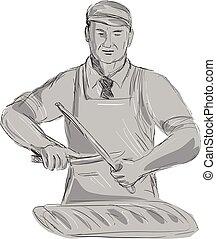 vendimia, afilar, cuchillo de carnicero, dibujo