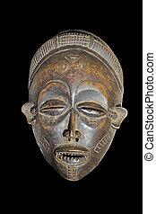 vendimia, africano, máscara