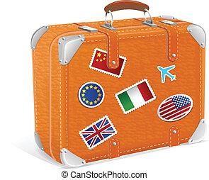 vendimia, aislado, ilustración, vector, maleta, blanco